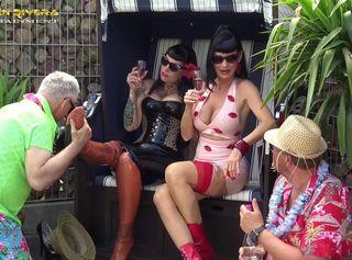 "Vorschaubild vom Privatporno mit dem Titel ""Carmen Rivera & Lady Vampira are celebrating a pool party with their slaves in the Femdom Empire Par"""