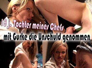 """Vorschaubild vom Privatporno mit dem Titel """"18 j. Tochter meines Chefs mit Gurke die Unschuld genommen!"""""""
