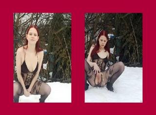 """Vorschaubild vom Privatporno mit dem Titel """"Sindy pisst im sexy Catsuit in den Schnee"""""""